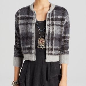Free People Oh My Plaid Wool Bomber Jacket S